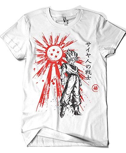 1119-Camiseta SoftStyle Saaiyan Warrior (Dr.Monekers) (XL, Blanco)