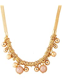 IGP Golden Pearls Thick Mesh Chain Beaded Fashion Pendant Necklace For Women And Girls