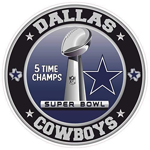 Kramer sticker's shop Dallas Cowboys Super Bowl Championship Aufkleber NFL Bootbal Truck Vinyl 6 Größen Wall Art Logo Auto Bumper Dallas Cowboy Wandtattoo, 3