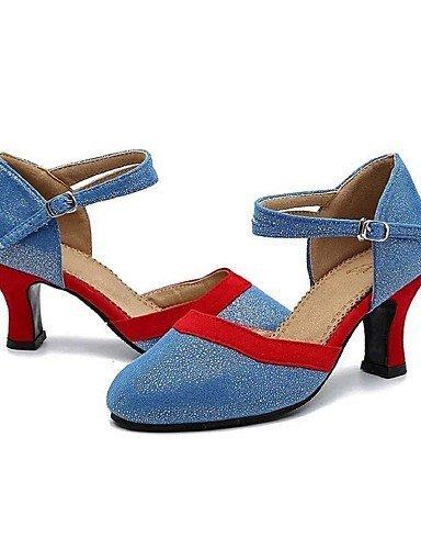 ShangYi Chaussures de danse (Noir/Bleu) - Non personnalisable Cuir/Flocage - Moderne