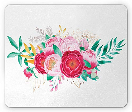 sage of Blossoming Spring Flowers Feminine Arrangement Foliage Leaves, Standard Size Rectangle Non-Slip Rubber Mousepad, Pink Dark Coral Green 9.8 X 11.8 inch ()