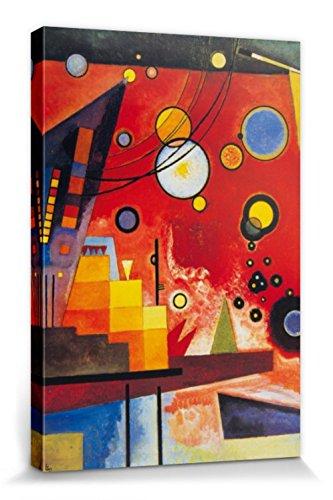 Kandinsky Kunst Poster (1art1 81614 Wassily Kandinsky - Schweres Rot, 1924 Poster Leinwandbild Auf Keilrahmen 120 x 80 cm)