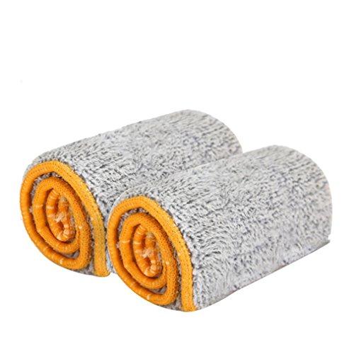 WalshK Doppelseitige Non Hand Waschen Mop Zubehör Staub Push Mop Tuch Home Clean Tools (Khaki) (Zubehör Khaki)
