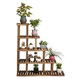 LWF $Töpfe Pflanz Holz-Blumen-Racks Karbonisierte Konservierungs-Hölzerne Blumen-Racks Massivholz-Mehrstockwerk-Ausstellungsstand Eckregal-Regale Multilayer-Balkon-Blumentopf-Gestell