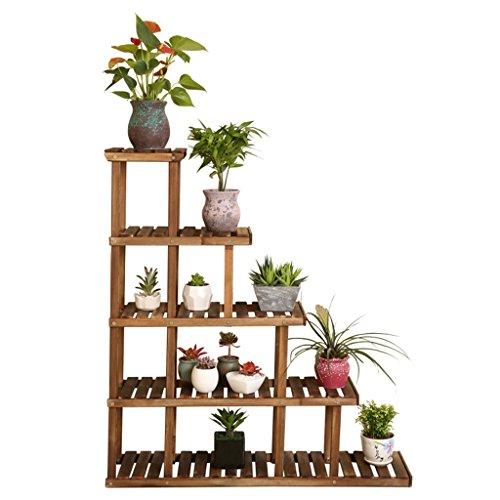 $Töpfe Pflanz Holz-Blumen-Racks Karbonisierte Konservierungs-hölzerne Blumen-Racks Massivholz-Mehrstockwerk-Ausstellungsstand Eckregal-Regale Multilayer-Balkon-Blumentopf-Gestell (Knospe Für Weniger)