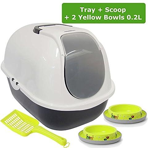 Bac à litière pour chat à capuche + 2bols antidérapant WC Loo filtre Scoop Pan