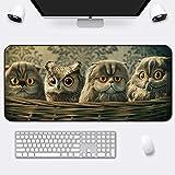 Mauspad super süße Mädchen Laptop Tastatur Pad Büro Verdickung Cartoon Home Student Tischset, Eule und Katze, 900x400x3mm