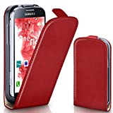 moex Samsung Galaxy S4 Mini | Hülle Rot 360° Klapp-Hülle Etui thin Handytasche Dünn Handyhülle für Samsung Galaxy S4 Mini Case Flip Cover Schutzhülle Kunst-Leder Tasche