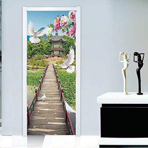 FCFLXJ 3D Tür Wandbilder Pavillon 95X215CM Herausnehmbare PVC Wasserdicht Wallpaper Selbstklebende Wandbilder Schlafzimmer Home Tür Aufkleber Abziehbild Wandtattoos Wandbilder
