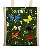 Mr. & Mrs. Panda Tragetasche Schmetterlinge - 100% handmade in Norddeutschland - Jutetasche, Tasche, Druck, Bag, Jutebeutel, Blumen Motiv, Tragetasche, Dekoration , Baumwolle, Natur Motiv, Butterflies, Falter