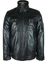 UNICORN Hommes le Style Motard Veste - Réal Cuir Veste - Noir Glacé #G2