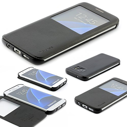Samsung Galaxy S7 Schutz Hülle G Case Elegant Series Handy Schutz Tasche Flip Cover mit Sichtfenster edles Case ScorpioCover schwarz