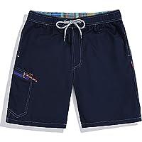 Westtreg Men Summer Clothing Quick Dry Beach Shorts Striped Swimwears Lovers Boardshorts Couples Surf Board Shorts,Dark Blue,XXL