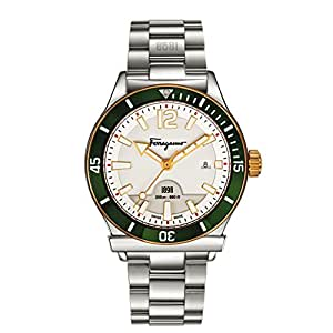 Salvatore Ferragamo 1898 Sport Men's Quartz Diver Watch with White Dial and Stainless Steel Bracelet FF3150014