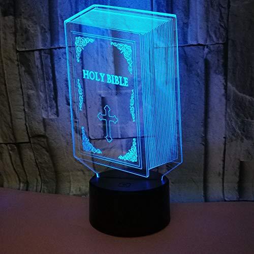 Bibel Nacht 3D Lampe Led Acryl Visuelle Bunte Kreative Touch 3D Illusion Tischlampe Fabrik Großhandel Blume Tischlampen