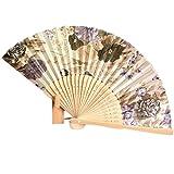 bobo4818 Zeremonielle Deko, Vintage Tasche Bambus faltende Hand Blumen-Fan Chinesische Tanzgeschenke (Beige)