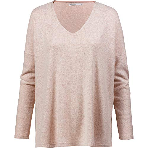 ONLY Damen Pullover onlKLEO L/S V-Neck KNT NOOS, Rosa (Rose Dawn Detail:Melange) 42 (Herstellergröße: XL)