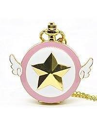 Luxury Magic Rhinestone Sakura Quartz Pocket Watch With Gold Necklace Pendant Chain Cosplay Gifts For Girls Student Women Kids Pocket & Fob Watches
