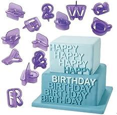 Syga Alphanumeric Plastic Cookies Molds, Purple, Set of 40