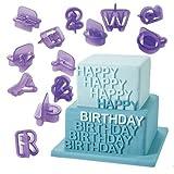 #3: Syga Alphanumeric Plastic Cookies Molds, Purple, Set of 40