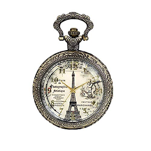 JewelryWe Herren Damen Taschenuhr, Retro Transparent Eiffelturm schlafender Junge Uhr Anhänger Analog Quarz Kettenuhr Pullover Halskette Kette mit Digital Zifferblatt