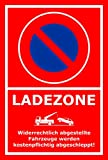 Schild – Eingeschränktes Halteverbot –Ladezone – 15x10cm, 30x20cm und 45x30cm – Bohrlöcher Aufkleber Hartschaum Aluverbund -S00350-017-D
