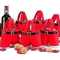 Generic 1 Peice Merry Treat Botella de Vino Dulce Bolsa Santa Claus Suspender Pants Pantalones Decor Bolsas