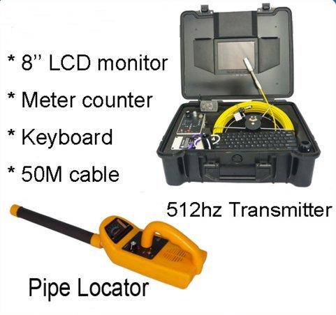 mabelstar 512Hz Sender Locator Sewer Drainagerohr Kamera Egal Meter Zähler und 50Meter Kabel, DVR SD Karte Dvr-karte