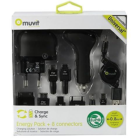 Muvit Energy Pack + Chargeur secteur avec 8 connecteurs Noir