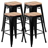 Best Bar Stools - Yaheetech Set of 4 Solid Metal Industrial Breakfast Review