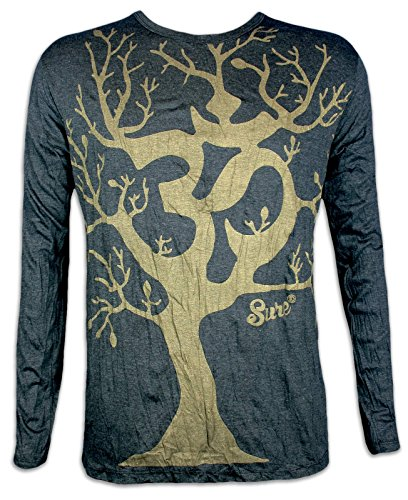 Sure Clothing Herren Longsleeve T-Shirt - Om Magischer Baum Sondermodell Größe M L XL Hinduismus Yoga Psychedelic Art (Schwarz-Gold L) (Herren Hanf Langarm)