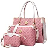 Coofit Damen Handtaschen, Handtasche Leder Tasche Set mit Crossbody Tasche Umhängetasche Damen Henkeltaschen Handgelenktasche (Rosa)