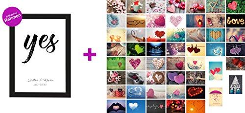 ClipDealer Edition Personalisiertes Poster zur Hochzeit Din A4 Yes, gerahmt mit Schwarzem Bilderrahmen + 52 Liebespostkarten (Personalisiertes Poster zur Hochzeit + 52 Liebespostkarten)