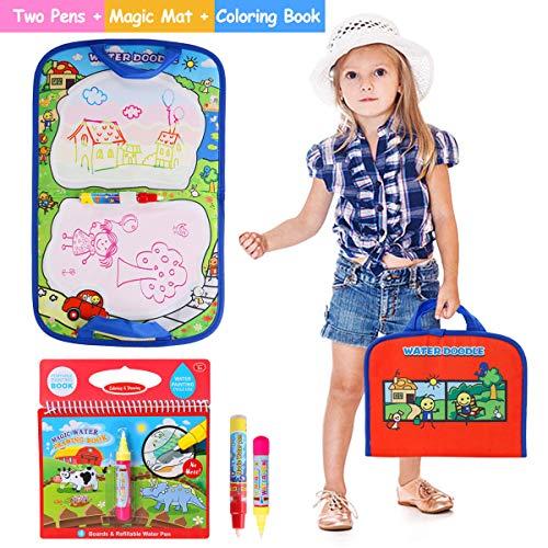 BBLIKE Agua Dibujo Pintura 1 Alfombra de Agua Doodle y 1 Libro Mágico del Dibujo del Agua 2 bolígrafos para niño, Ideal Cumpleaños niños,Juguetes Niñas 2 3 4 5 Años