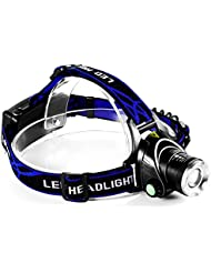 GRDE® Lampe Frontale Zoom 1800 Lumens Headlamp Impermeable avec kits de chargeur pour Cyclisme, Camping,Randonnne,Chasse de Nuit,Courrir (5 Modes de lumineux)