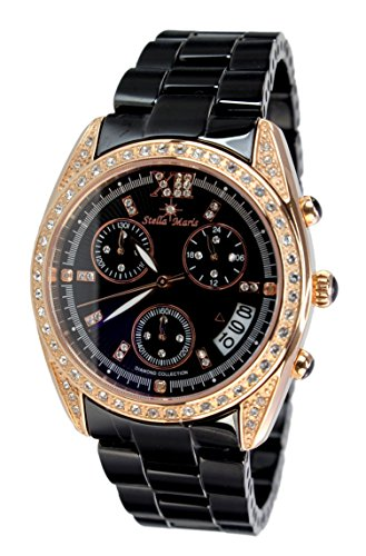 Stella Maris Damen-Armbanduhr Analog Quarz Premium Keramik Diamanten - STM15F3