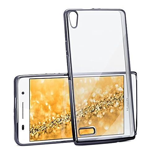 Huawei P6 Hülle Silikon Transparent Anthrazit [OneFlow Chrom Back-Cover] Silikonhülle Dünn Schutzhülle Handyhülle für Huawei Ascend P6 Case Ultra-Slim Tasche TPU
