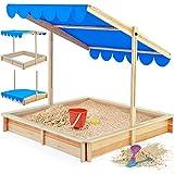 Sandkasten Spielhaus Holz Sandbox Sandkiste Kinder 120x120cm mit höhenverstellbarem und neigbarem Sonnendach Sandkiste Kindersandkasten Buddelkiste Holz UV-Schutz >50