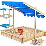 Sandkasten 120x120cm mit höhenverstellbarem und neigbarem Sonnendach UV-Schutz >50 Sandkiste Kindersandkasten Buddelkiste Sandbox Sandkiste Kinder