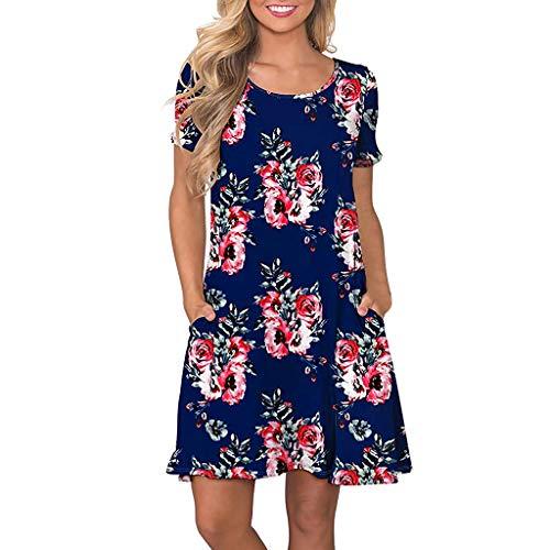 (Zegeey Damen Kleid Sommer Kurzarm Floral Bedruckte Taschen Swing Kleider Sommerkleider Strandkleider Knielang BeiläUfige Lose (Blau,L))