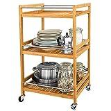 Popamazing – Carrito de cocina con ruedas para almacenamiento de cocina, carrito de servir, rollo de bambú