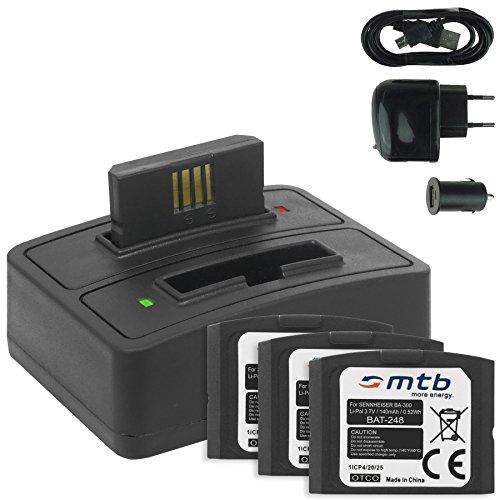 4x Batterie + Caricabatteria doppio (USB/Auto/Corrente) BA-300 per Sennheiser RI 410 (IS 410), RI 830 (Set 830 TV), RI 830-S, RI 840 (Set 840 TV), RI 900, RR 4200... - v. lista