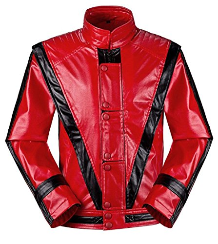 Unisex Michael Jackson Jacken MJ Cosplay Kostüm Thriller Beat es Billie Jean Halloween Party Mantel (Geben Handschuh) (Gewicht:42-55kg, Thriller)
