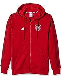 2015-2016 Bayern Munich Adidas 3S Hooded Zip Top (Red)