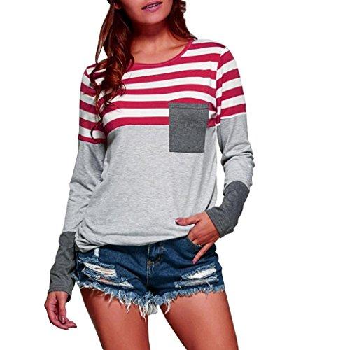 Damen Langarm T-Shirt Oberteile Frauen Lose Pullover Lange Ärmel Streifen Shirt Tops Bluse (L, Rot) (Aus Beliebtes Baumwolle Shirt)