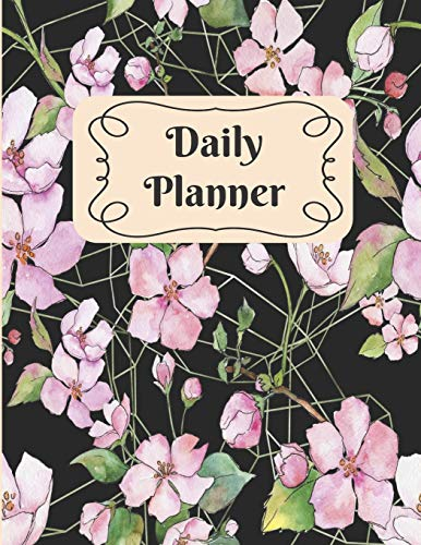 Daily Planner: Pink and Black Gardenia 90 day Monthly Weekly Planner Undated -