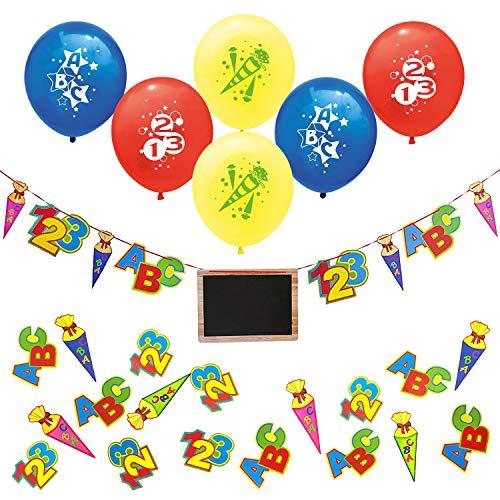 Oblique Unique® Schuleinführung Schulanfang Einschulung Deko Set für Junge und Mädchen - ABC 123 Zuckertüte Girlande mit Tafel + Luftballons + Konfetti