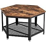 VASAGLE Table Basse Vintage, Table d'appoint, Table de Salon, Armature métallique Stable, Étagère de Rangement en Treillis, H