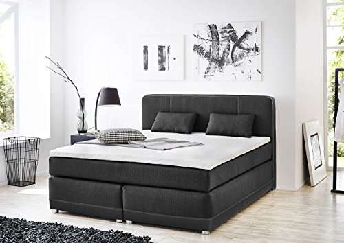 lifestyle4living Boxspringbett in Grau in Kunstleder und Webstoff | Bett hat 180x200 cm Liegefläche | Polsterbett mit 2 Kissen, Topper und 2 Matratzen