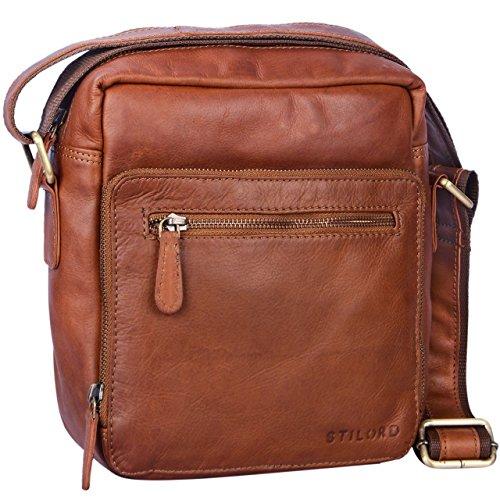 STILORD \'Nathan\' Umhängetasche Herren Leder klein braun Vintage Herrentasche 10,1 Zoll Tablettasche für iPad echtes Leder, Farbe:Cognac - braun